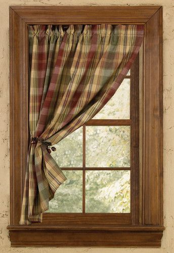 Window Curtain Tier Pair Unlined 24 L Park Designs Saffron Country Curtains Curtains Cabin Curtains