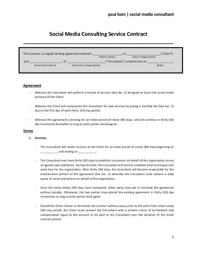 paul bain social media consultant Social Media Consulting - service contract