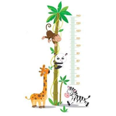 Sticker toise b b animaux jungle bebe pinterest - Stickers jungle chambre bebe ...