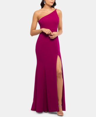 $230 Sangria formal dress for fall 2019. Check out this beautiful dress designed by cap. The fabric used to craft this dress is crepe. This dress exhibits one shoulder neckline. This dress is appropriate for both formal & evening events and prom. The gown style will definitely make the dress stand out.
