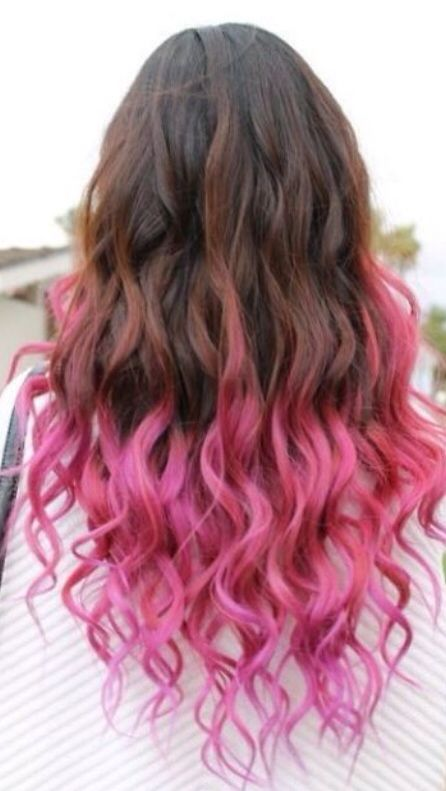 Pink Curly Tips Cool Hair Color Dip Dye Hair Pink Ombre Hair