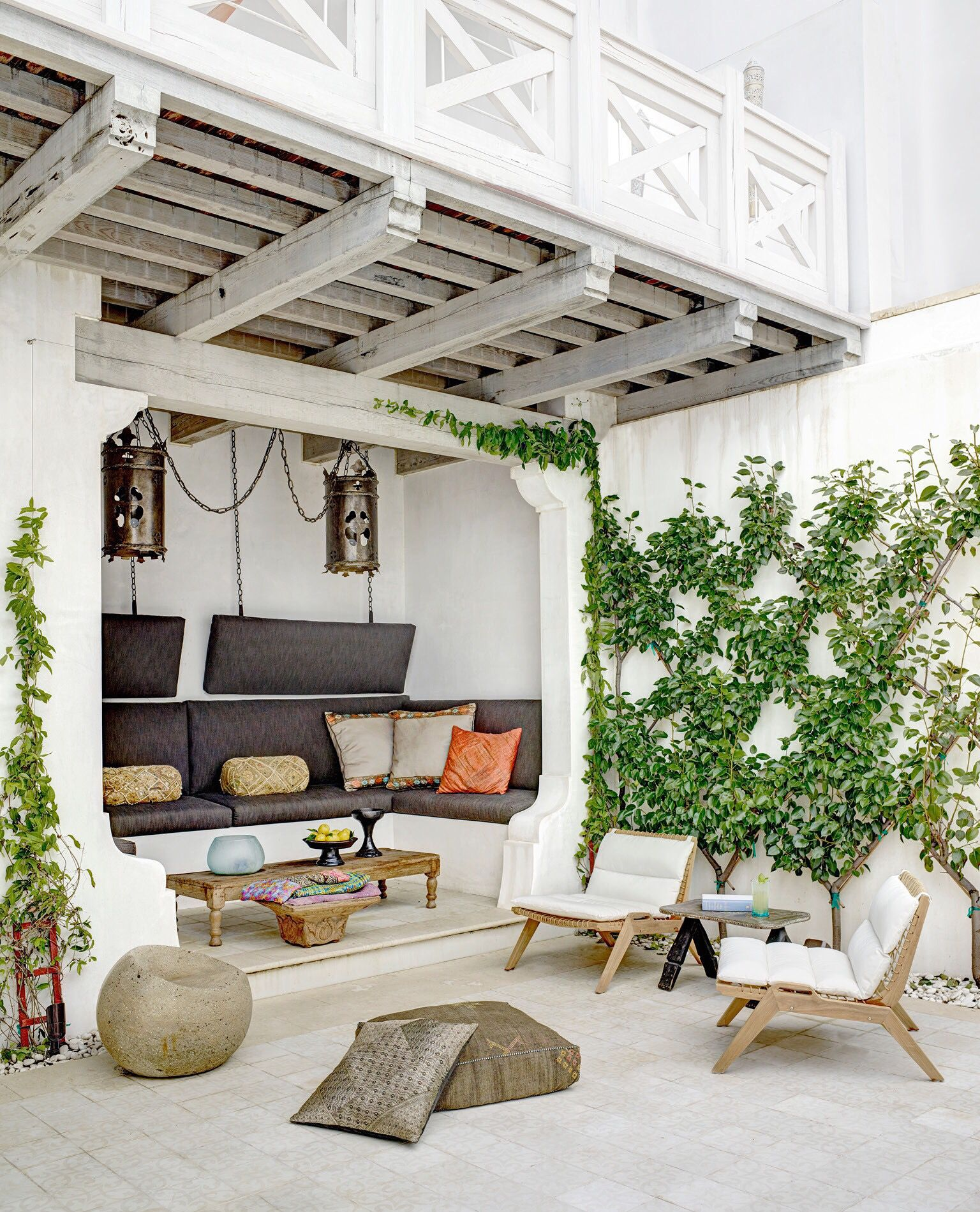 Amazing Moroccan terrace by Sardar Design Studio as seen in Architectural  Digest May 2015 #white