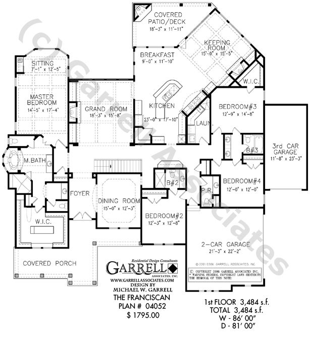 Franciscan house plan 04052 floor plan ranch style for Patio home plans one story