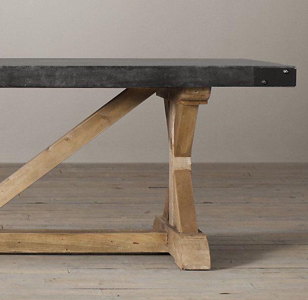 Salvaged Wood Amp Concrete X Base Tables Slate Concrete Top