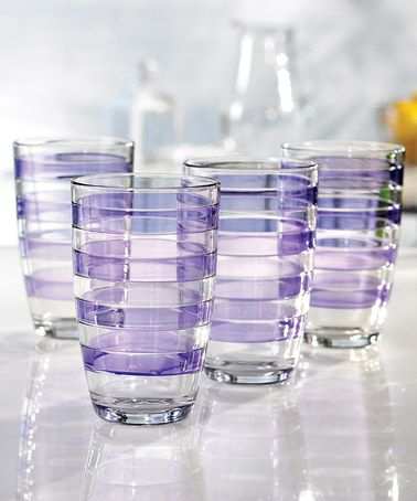Take a look at this Purple 16-Oz. Glass - Set of Four by Jay Import on #zulily today! $15 !!