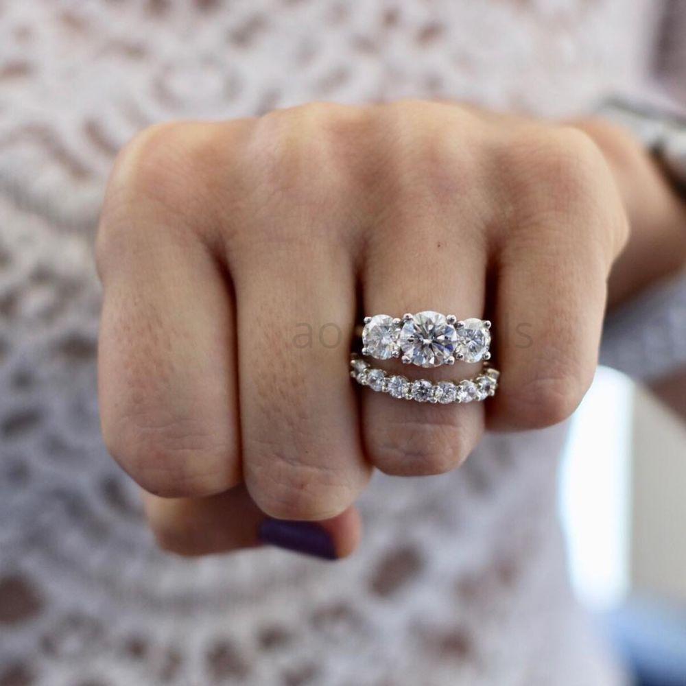 White Gold Fn Round Diamond 3 Stone Engagement Ring Wedding Band