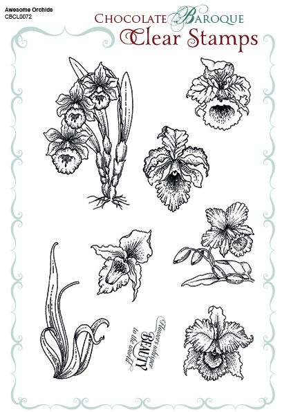 Chocolate Baroque Rubber Stamps - Awesome Orchids Clear stamp sheet - A5