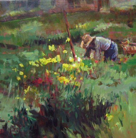 gardener painting of a gardener in landscape original art painting by mary maxam dailypainterscom