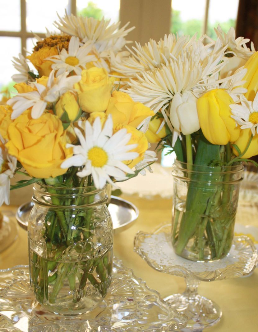 Mason jar centerpieces for baby shower yellow and white theme