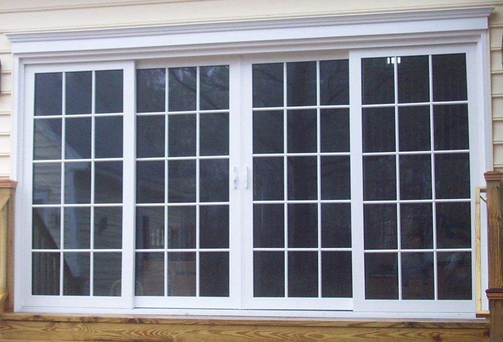 Double Sliding Patio Doors With While Grilles Aspen House Replacement Patio Doors Double Sliding Patio Doors