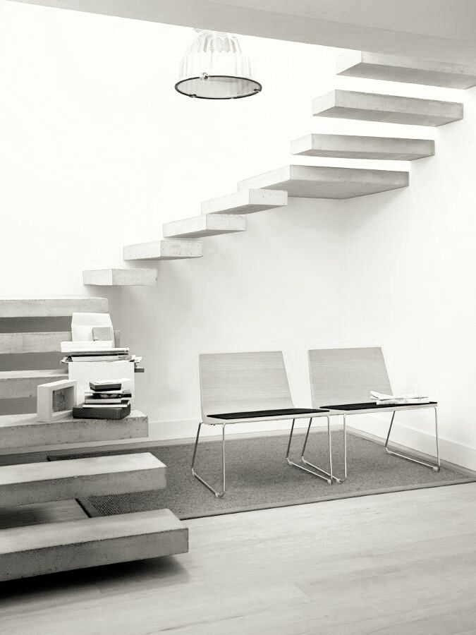 Light concrete stairs