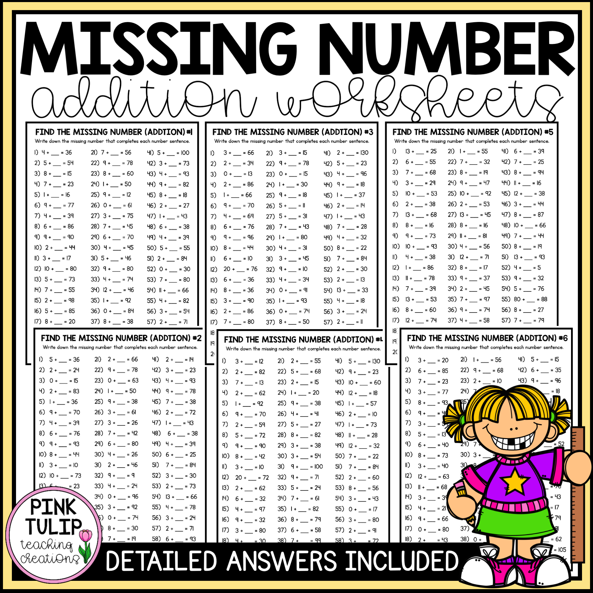 Missing Number Addition Worksheets