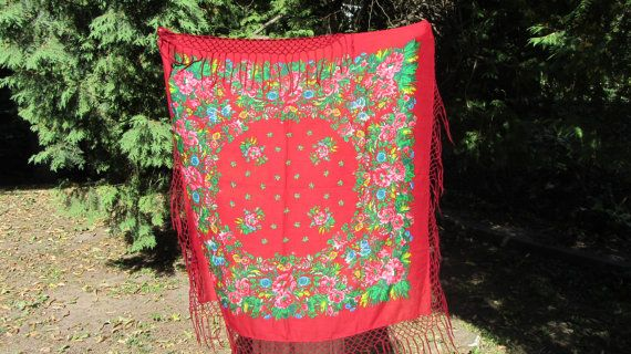 Asian Red Vintage Shawl With Fringes Japan Floral Red by rulentus