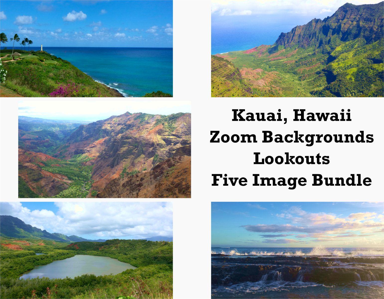 Zoom Backgrounds Bundle Kauai Hawaii Kauai Zoom Etsy Seascape Kauai Background