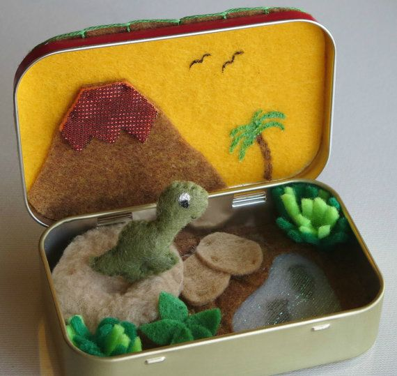 Dinosaur plush felt play set in Altoid tin with by wishwithme