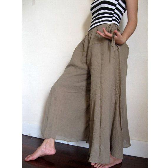 Boho Hippie Khaki  Soft Cotton drawstring waist  Wide by siam2u