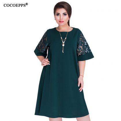 dbd963d521d Loose Lace Summer Dresses Knee-Length Office Dress  Loose  Lace  Summer   Dresses  Big  Size  women  Knee- Length  office  dress  vintage  vestidos  L - 6XL ...