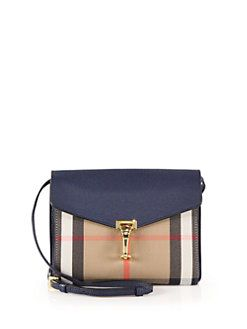 947f826c7c0 Burberry - Macken Small House Check & Leather Crossbody Bag ...