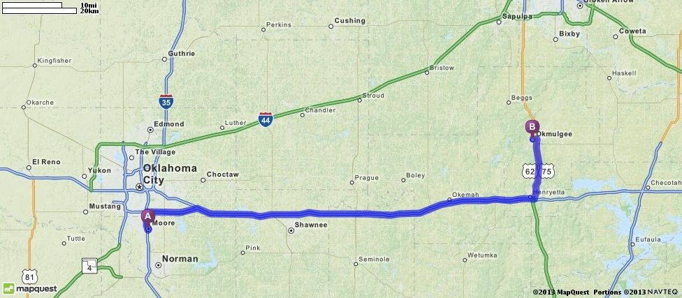 Driving Directions from Moore, Oklahoma to Okmulgee, Oklahoma   MapQuest
