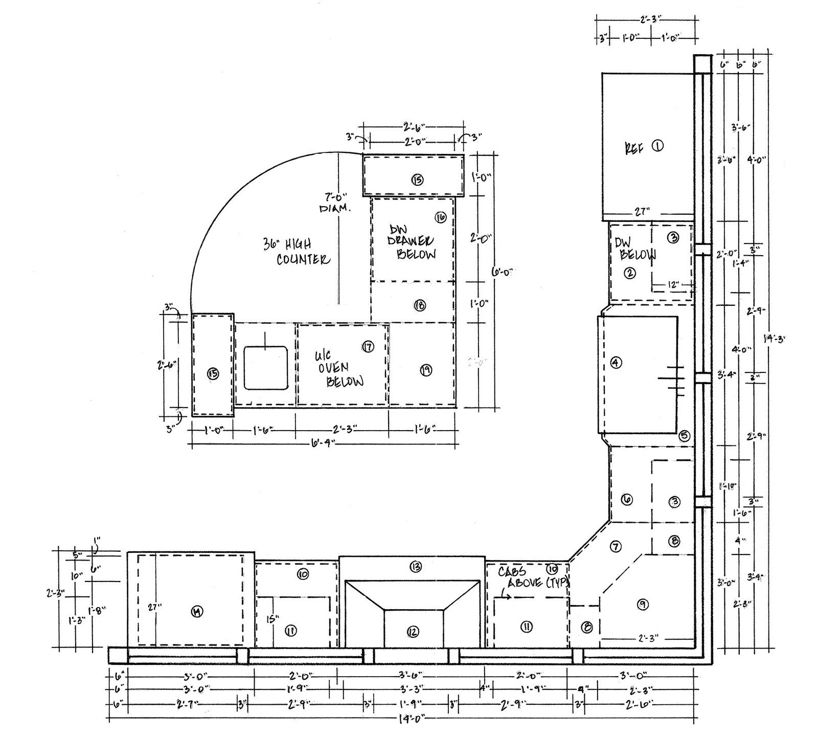 2 Wall And L Shape Island Creative Zoning Clean Hand Drafting And Dimensioning L Shaped Island L Shape Cleaning