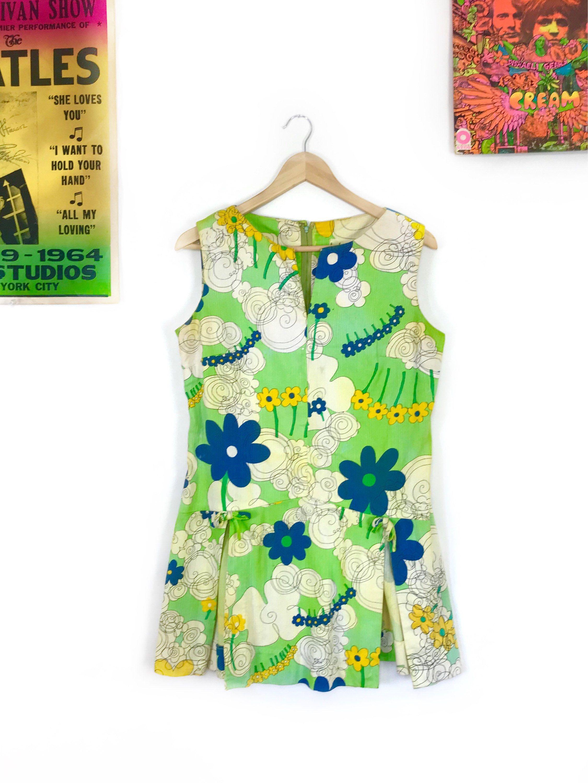 f9872c7ca2eb Vintage 1960s Kahala Hawaiian micro mini floral dress retro 60s 70s ...