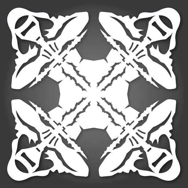 Kylo Ren lightsaber-displayed PDF to make snowflake Christmas - snowflake template