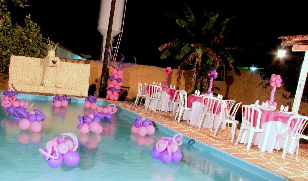 Pool party pink and purple decoration pool party for Garden pool party