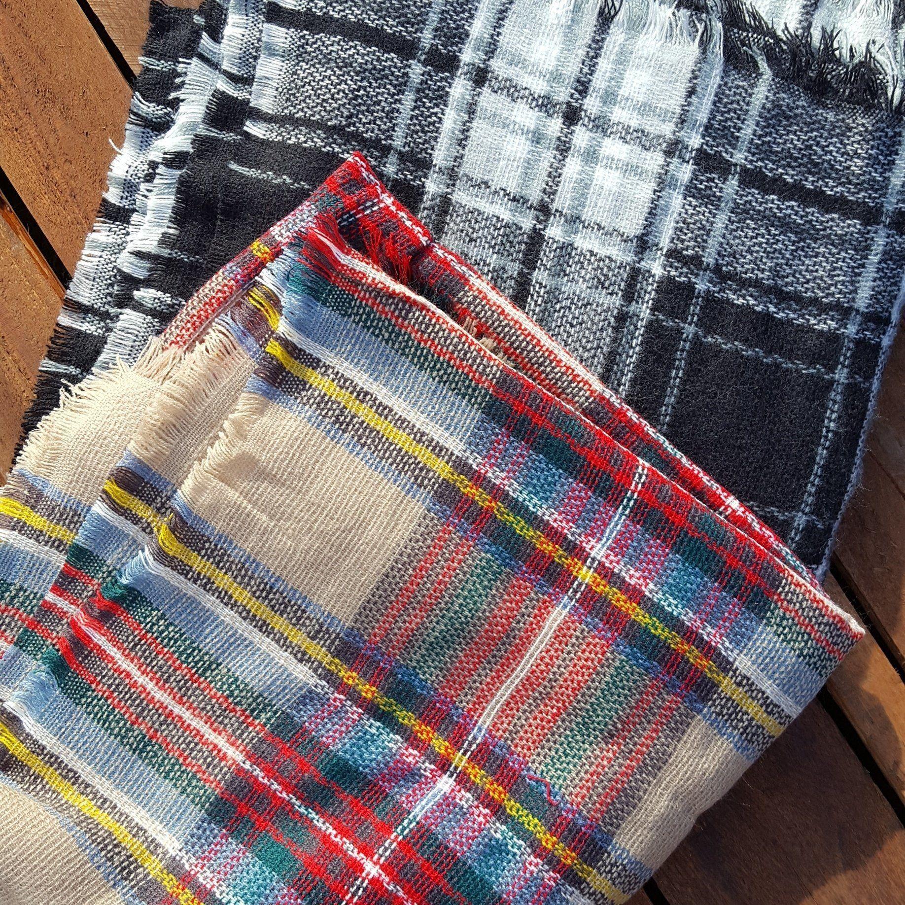 Plaid blanket scarf, Blanket