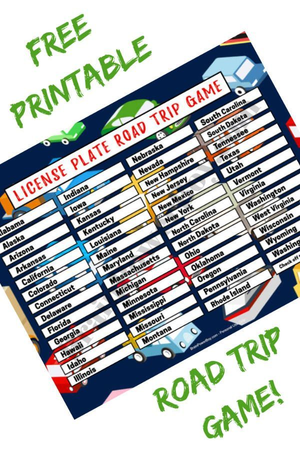 Free Printable License Plate Road Trip Game Boredom Buster! is part of Road trip games, Travel games, Kids road trip games, Road trip, Road trip printables, Games - Grab this free printable license plate road trip game to take the boredom out of traveling by car  A fun way to learn the states and keep kids occupied
