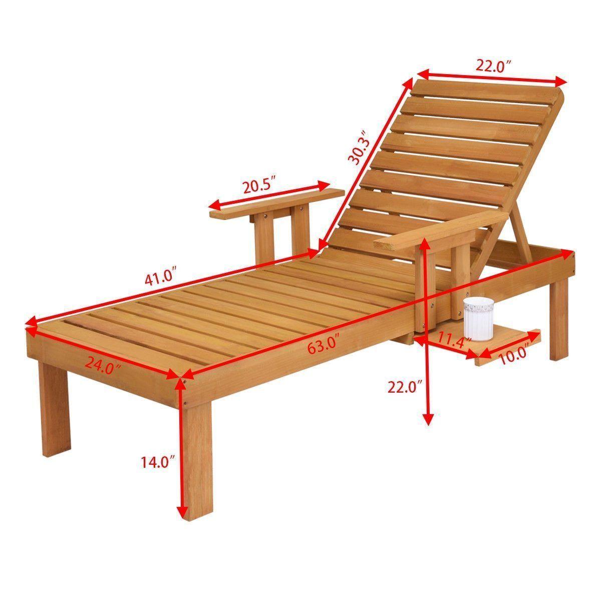 Patio Lounger Chaise Sun Outdoor Furniture Garden Side Tray Deck