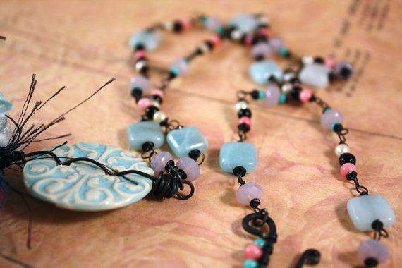 SALE  Button Fringe Necklace  Chinook button fiber by CraftyHope, $34.00