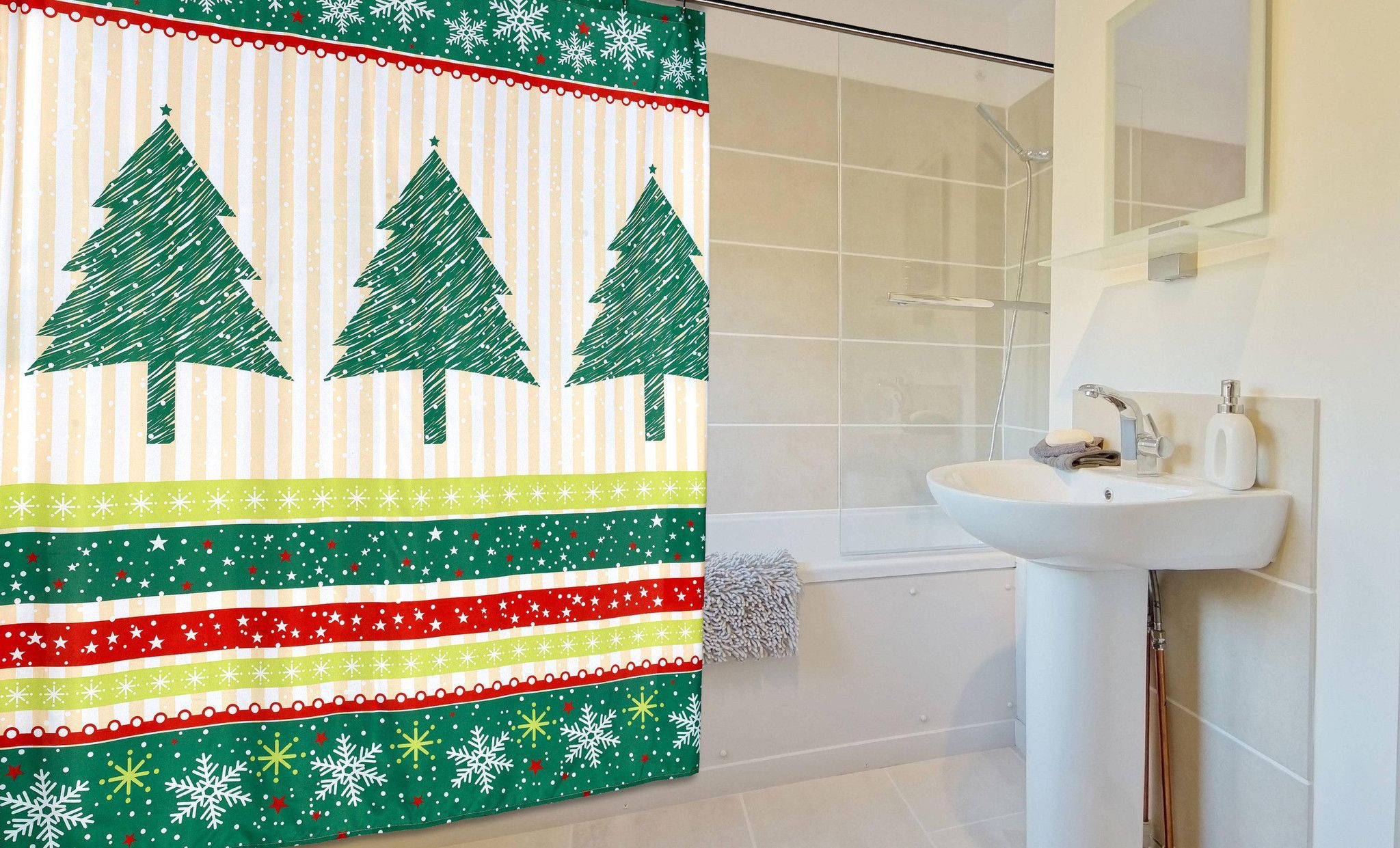 Felices Pascuas Collection Christmas Fabric Shower Curtain (70\