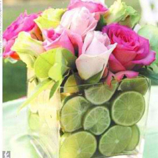 Great centerpiece for spring/summer wedding.  Substitute lemon or mix and match.  Use oranges for fall.
