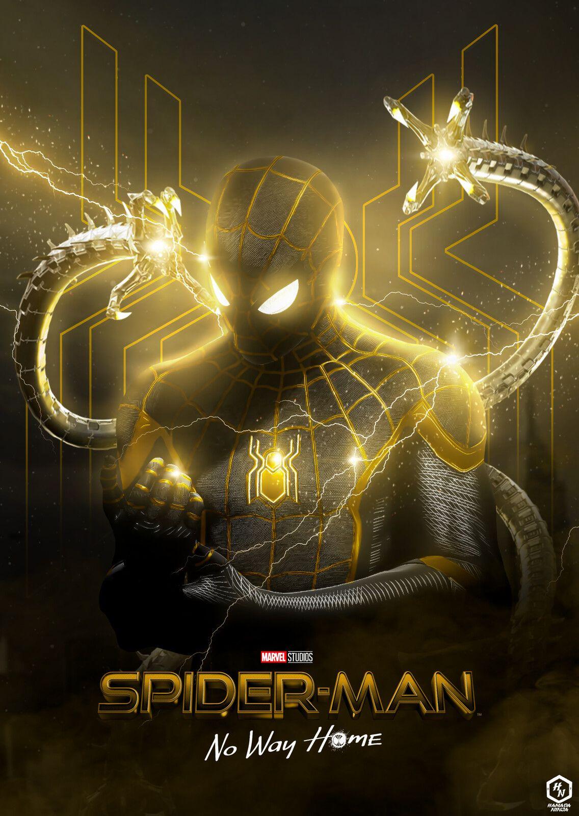SPIDER-MAN NO WAY HOME BLACK AND GOLD POSTER BY ME HAMADA NINJA, Hamada Ninja