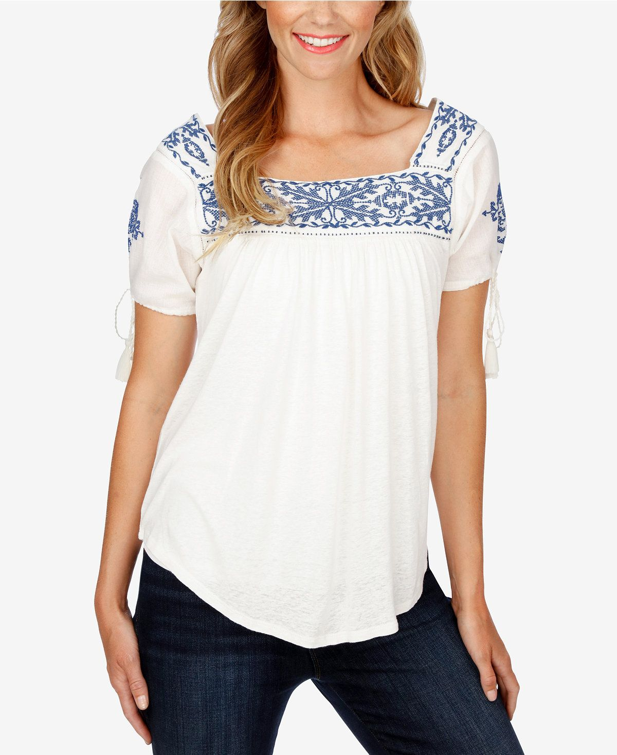 0a892386c675b9 $27.99 Lucky Brand Embroidered Peasant Top - Tops - Women - Macy's ...