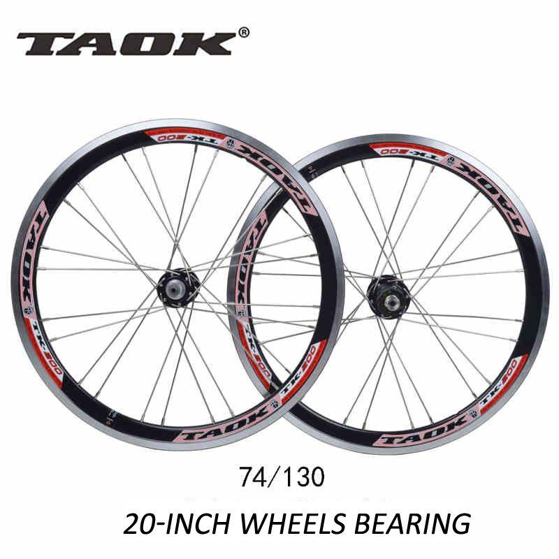Taok 20 24 Holes 406 Folding Bikes Bicycles V Brake Wheel Wheelset Rim 74mm 130mm Parts Bearing Wheels Folding Bike Bmx Bicycle Bicycle