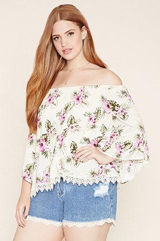 9ad208152e17e Blusa Hombros Descubiertos - Tallas Grandes. detalles Forever 21+ - Blusa  con estampado floral