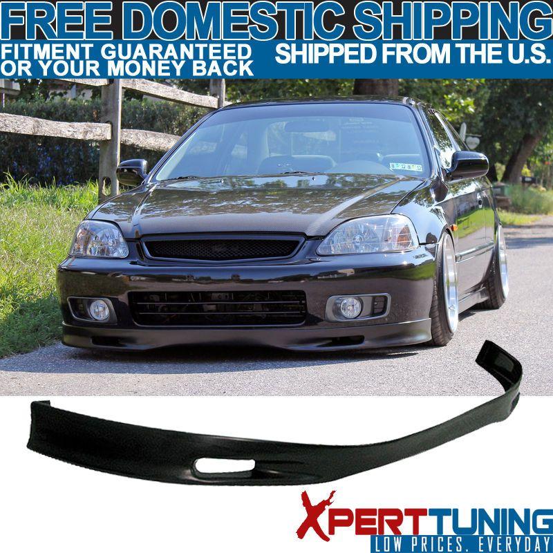 Front Bumper Lip Spoiler Fits 99 00 Honda Civic Ek Jdm Bumper Unpainted Black Ebay In 2021 Civic Honda Civic Bumpers