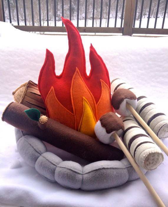 Kids Campfire Handmade Felt Toy, Pretend Flame Rocks Logs and Marshmallows #handmadetoys