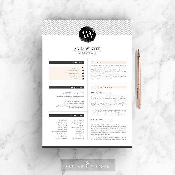 Resume Template 5pages Stiletto by TheResumeBoutique on