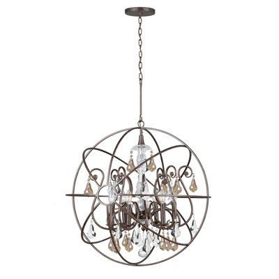 House of Hampton Hester 6 Light Crystal Chandelier Finish: English Bronze, Crystal Color: Golden Shade Hand Cut