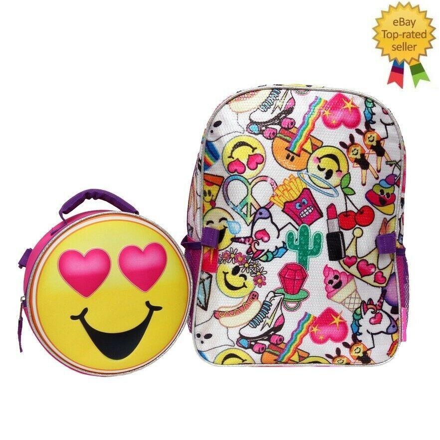 New Girls Emojination Backpack Lunch Tote Set Emojination Backpack In 2020 Emoji Backpack Unisex Tote Reversible Tote Bag