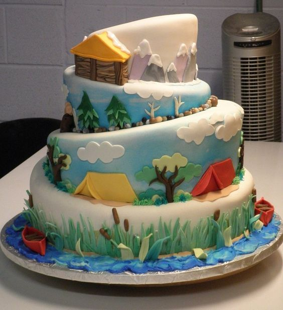 CAMPING THEMED CAKES CUPCAKES COOKIES Cake Camping cakes and