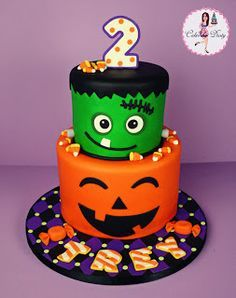 halloween birthday cake designed to match the treat bags for the party the fondant candy corn idea came from a halloween cake made by she bakes cakes - Baby Halloween Birthday Party