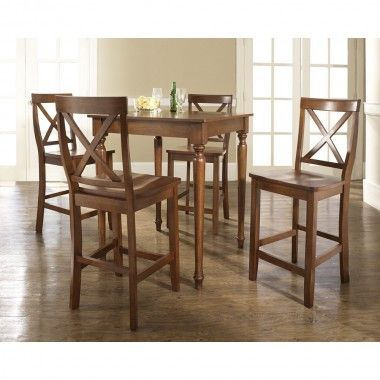 Crosley Five Piece Pub Dining Set With Turned Leg Table And X Back Barstools In