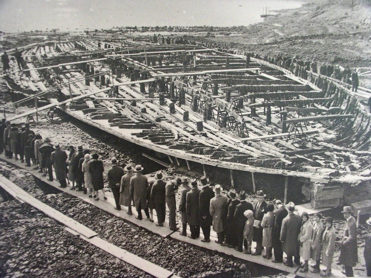 Visitors Walking Past The Remains Of A Ship Built By Emperor Caligula In The 1st Century Ad The Ship Would Have Been An Photo History Rare Historical Photos