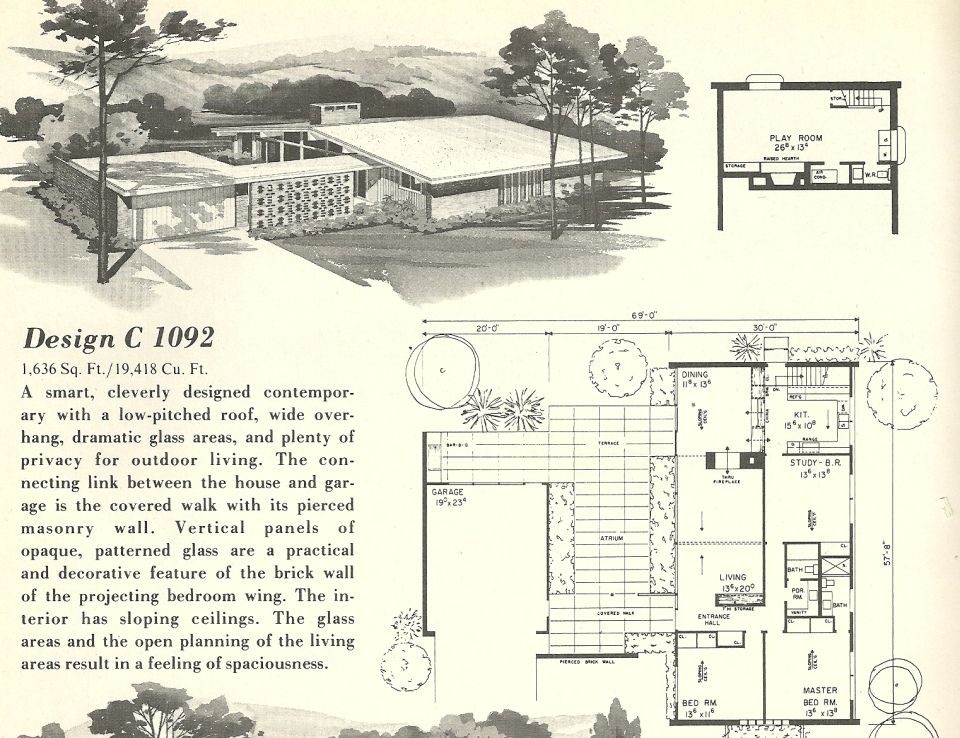 vintage house plans, 1960s homes, mid century homes | design