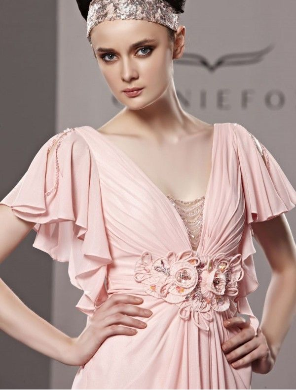 silk chiffon flutter sleeves and plunge neckline with beaded accents