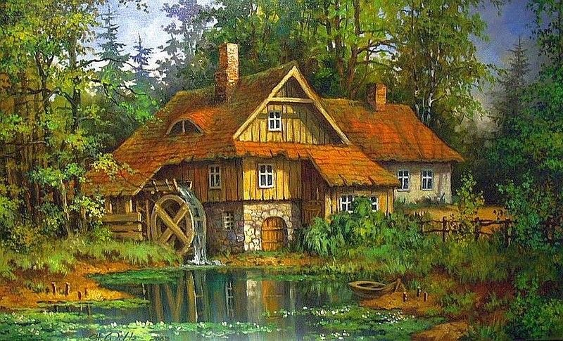 Картинка с домиком в деревне, лет сестре