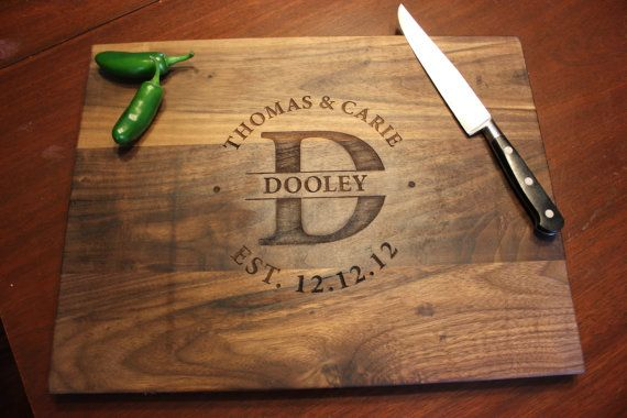 Etsy Personalized Engraved Wood Cutting Board Circle Monogram Names And Date Walnut 16 X 12